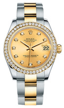 Rolex New Style Datejust Midsize Two Tone Custom Diamond Bezel & Diamond Dial on Oyster Bracelet P178273CDDO