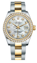 Rolex New Style Datejust Midsize Two Tone Custom Diamond Bezel & Diamond Dial on Oyster Bracelet P178273MOPDDO