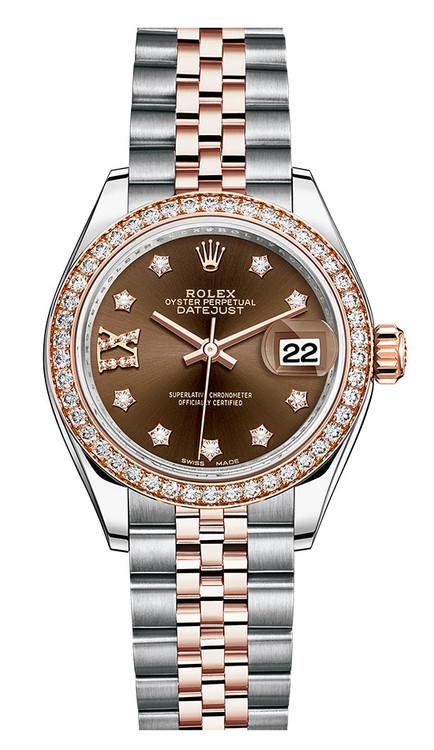 cc99c669c302b Rolex Lady Datejust 28mm Everose Diamond Bezel Two-Tone ...