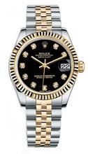 Rolex New Style Datejust Midsize Two Tone Fluted Bezel & Diamond Dial on Jubilee Bracelet P178273BDFJ