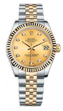 Rolex New Style Datejust Midsize Two Tone Fluted Bezel & Diamond Dial on Jubilee Bracelet P178273CDFJ