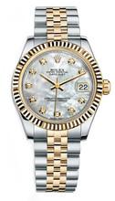 Rolex New Style Datejust Midsize Two Tone Fluted Bezel & Diamond Dial on Jubilee Bracelet P178273MOPDFJ