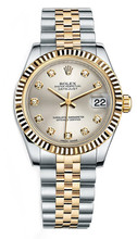 Rolex New Style Datejust Midsize Two Tone Fluted Bezel & Diamond Dial on Jubilee Bracelet P178273SDFJ