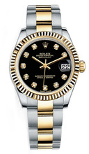 Rolex New Style Datejust Midsize Two Tone Fluted Bezel & Diamond Dial on Oyster Bracelet P178273BDFO