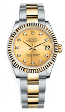 Rolex New Style Datejust Midsize Two Tone Fluted Bezel & Diamond Dial on Oyster Bracelet P178273CDFO