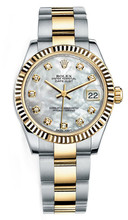 Rolex New Style Datejust Midsize Two Tone Fluted Bezel & Diamond Dial on Oyster Bracelet P178273MOPDFO