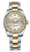 Rolex New Style Datejust Midsize Two Tone Fluted Bezel & Diamond Dial on Oyster Bracelet P178273SDFO