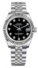 Rolex New Style Datejust Midsize Stainless Steel Fluted Bezel & Diamond Dial on Jubilee Bracelet P178240BDFJ