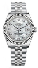 Rolex New Style Datejust Midsize Stainless Steel Fluted Bezel & Diamond Dial on Jubilee Bracelet P178240MOPDFJ