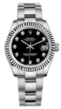Rolex New Style Datejust Midsize Stainless Steel Fluted Bezel & Diamond Dial on Oyster Bracelet P178240BDFO
