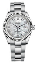Rolex New Style Datejust Midsize Stainless Steel Fluted Bezel & Diamond Dial on Oyster Bracelet P178240MOPDFO