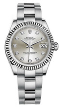 Rolex New Style Datejust Midsize Stainless Steel Fluted Bezel & Diamond Dial on Oyster Bracelet P178240SDFO