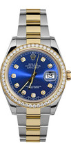 Rolex 41mm  Datejust II 116333 Custom Blue Diamonds