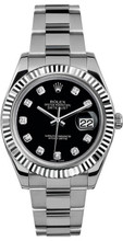 Rolex 41mm Datejust II Stainless Steel 116334 Custom Black Diamond