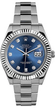 Rolex 41mm Datejust II Stainless Steel 116334 Custom Blue Diamond
