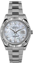 Rolex 41mm Datejust II Stainless Steel 116334 Custom Pearl Diamond