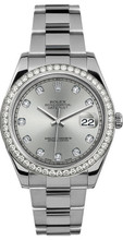 Rolex 41mm Datejust II Stainless Steel 116334 Custom Silver Diamond Bezel