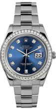 Rolex 41mm Datejust II Stainless Steel 116334 Custom Blue Diamond Bezel