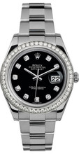 Rolex 41mm Datejust II Stainless Steel 116334 Custom Black Diamond Bezel