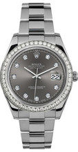 Rolex 41mm Datejust II Stainless Steel 116334 Custom Rhodium Diamond Bezel