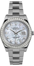 Rolex 41mm Datejust II Stainless Steel 116334 Custom Pearl Diamond Bezel