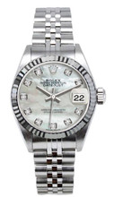 Rolex Women's Datejust Stainless Steel  Custom Mother of Pearl Diamond Dial
