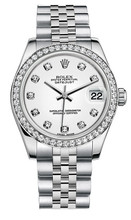 Rolex New Style Datejust Midsize Stainless Steel Custom Diamond Bezel & Diamond Dial on Jubilee Bracelet P178240WDDJ