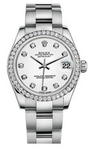 Rolex New Style Datejust Midsize Stainless Steel Custom Diamond Bezel & Diamond Dial on Oyster Bracelet P178240WDDO