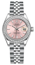 Rolex Lady Datejust 28mm Diamond Bezel Stainless Steel 279384PIDJ