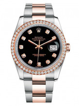 Rolex New Style Datejust Rose Two Tone Custom Diamond Bezel & Black Diamond Dial on Oyster Bracelet