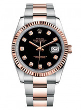 Rolex New Style Datejust Rose Two Tone Fluted Bezel  & Black Diamond Dial on Oyster Bracelet