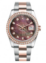 Rolex New Style Datejust Rose Two Tone Custom Diamond Bezel & Black Mother of Pearl Diamond Dial on Oyster Bracelet