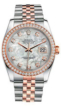 Rolex New Style Datejust Rose Two Tone Custom Diamond Bezel & Mother of Pearl Diamond Dial on Jubilee Bracelet