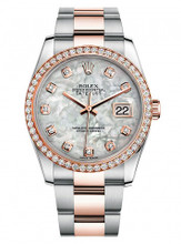 Rolex New Style Datejust Rose Two Tone Custom Diamond Bezel & Mother of Pearl Diamond Dial on Oyster Bracelet