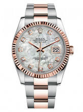 Rolex New Style Datejust Rose Two Tone Fluted Bezel  & Mother of Pearl Diamond Dial on Oyster Bracelet