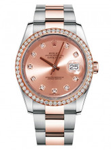 Rolex New Style Datejust Rose Two Tone Custom Diamond Bezel & Champagne Diamond Dial on Oyster Bracelet