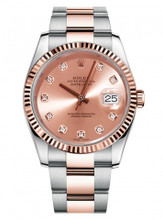 Rolex New Style Datejust Rose Two Tone Fluted Bezel  & Champagne Diamond Dial on Oyster Bracelet