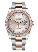 Rolex New Style Datejust Rose Two Tone Custom Diamond Bezel & Silver Diamond Dial on Oyster Bracelet