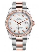 Rolex New Style Datejust Rose Two Tone Custom Diamond Bezel & White Diamond Dial on Oyster Bracelet