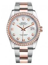 Rolex New Style Datejust Rose Two Tone Custom Diamond Bezel & White Diamond Dial on Oyster Bracelet