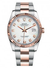 Rolex New Style Datejust Rose Two Tone Fluted Bezel  & White Diamond Dial on Oyster Bracelet