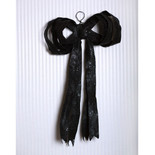 "Black Giant Pliable Fabric Glitter Bow (20""x21"")"