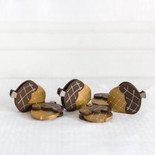 2x2.5x.5 wood acorns s/6 bn/sv/cp