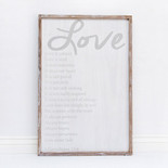 24x36x1.5 frmd sign (LOVE IS) wh/gr
