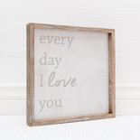 12x12x1.5 frmd sign (I LOVE YOU) wh/gr