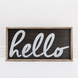 25x14x1.5 frmd sign (HELLO) bk/wh