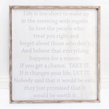 29x31x1.5 frmd sign (LIFE IS) wh/gr