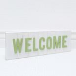 13.75x4.75x1.5 wd sign (WLCM) wh/gn
