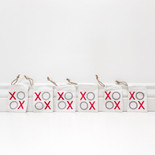 3x4x.25 linen treat bags s/6 (XOXO) gy/rd