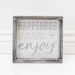 8x7.5x1.5 wd frmd sign (HAPPINESS) wh/bk